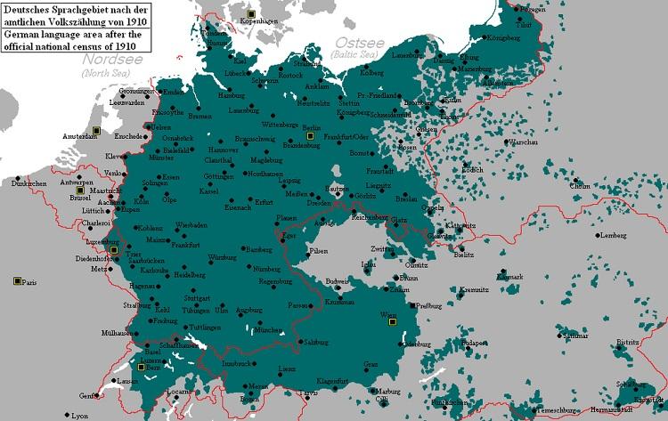Karta Rasprostranjenosti Njemakog Jezika Po Evropi Prije Drugog Svjetskog Rata