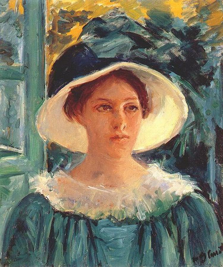 Cassatt Mary Young Woman in Green Outdoors in the Sun 1914