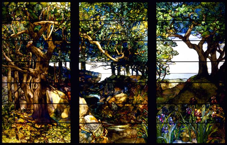 Louis Comfort Tiffany A Wooded Landscape in Three Panels Google Art Project