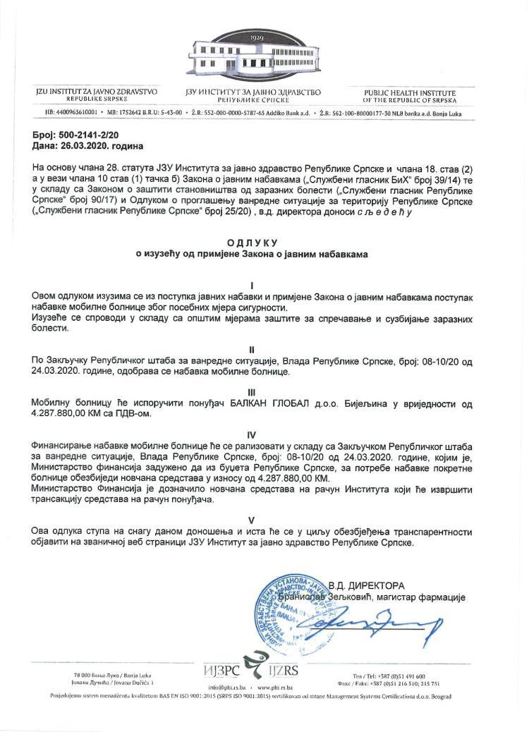Odluka o izuzeću od primjene Zakona o javnim nabavkama page 001