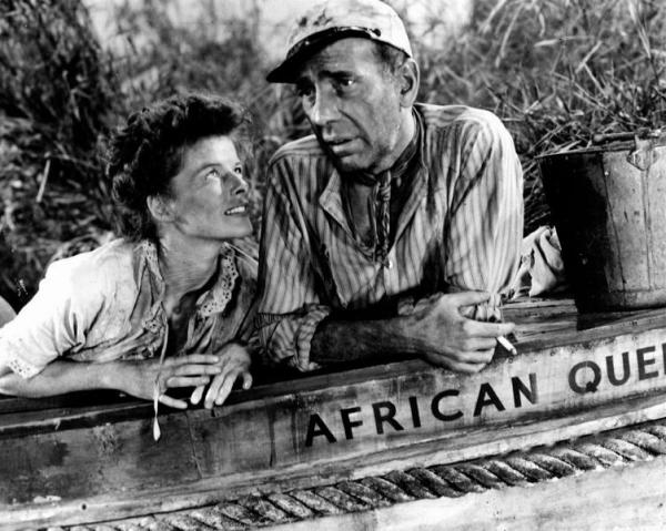 still of humphrey bogart and katharine hepburn in afrikas drottning 1951 large picture